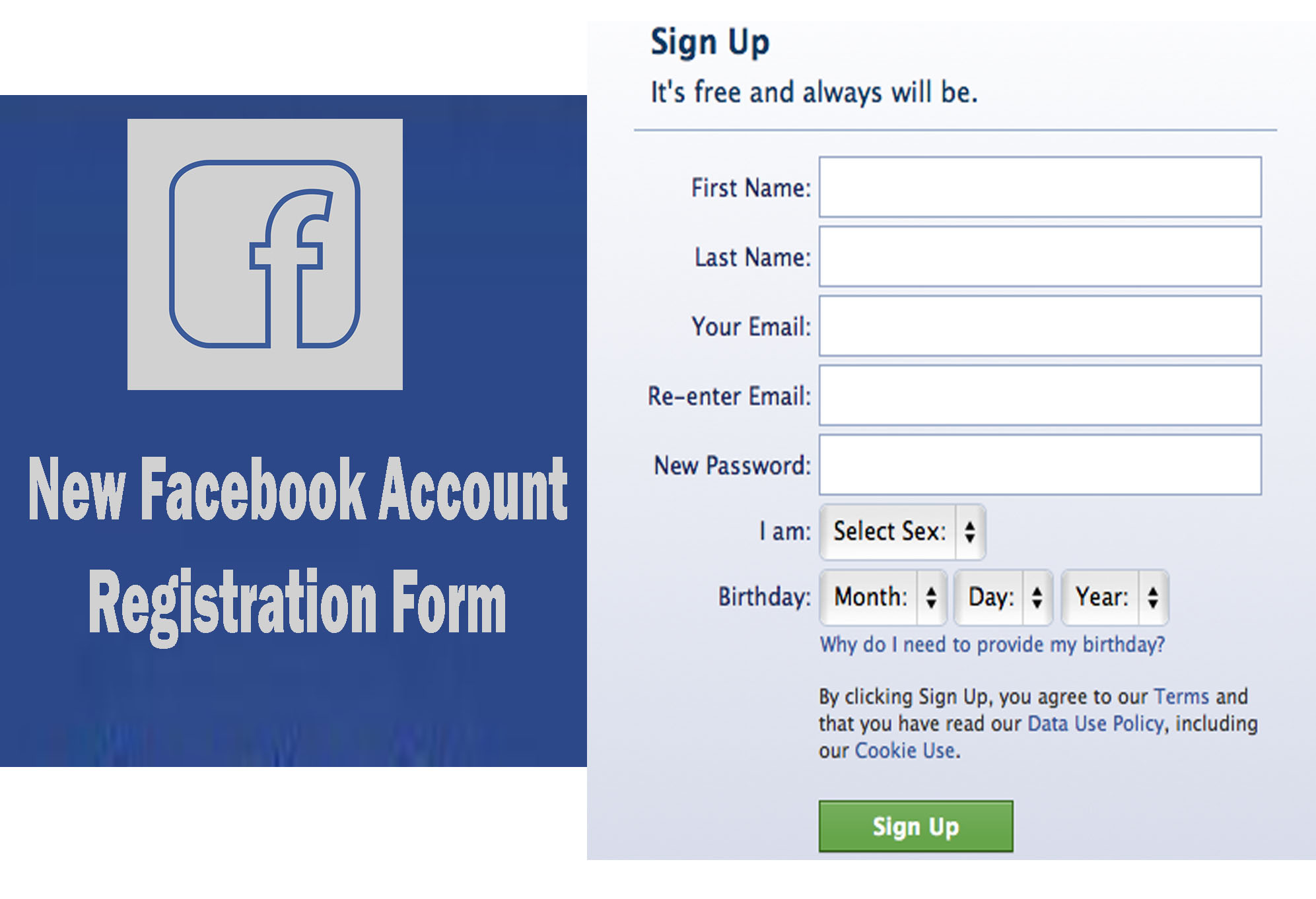 Create New Facebook Account Registration Form - How to
